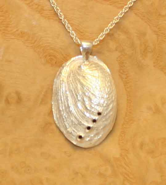 Silver abalone pendant, solid Sterling silver, £79.