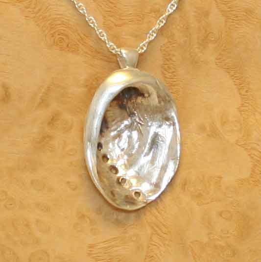 Silver abalone pendant